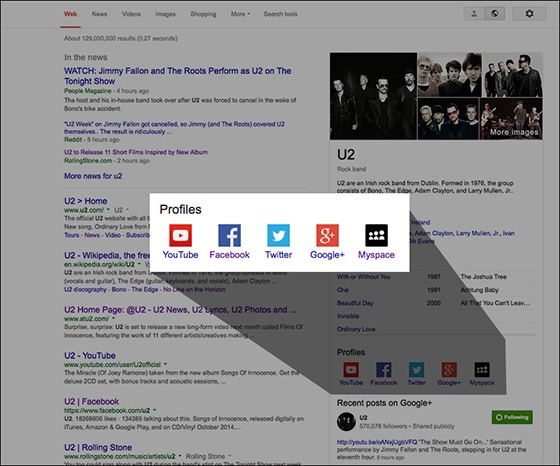 Knowledge Graph's new social links displaying as part of U2's Knowledge Graphresult.