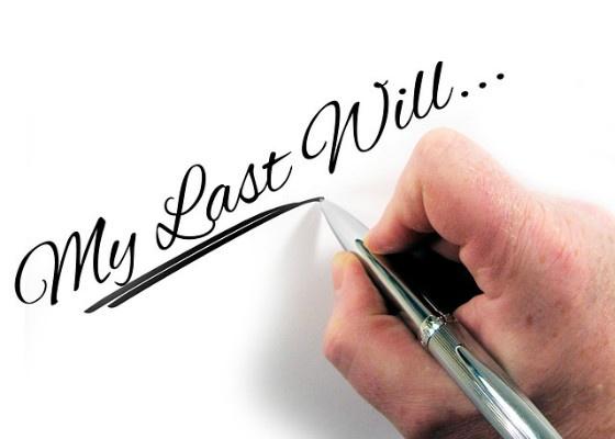 "Handwritten text reading ""My last will...""."