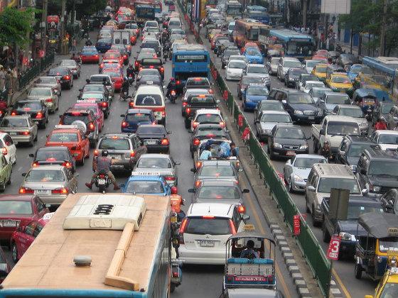 A traffic jam in Bangkok.