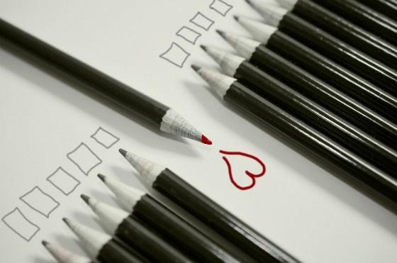 Pencils drawing a heart