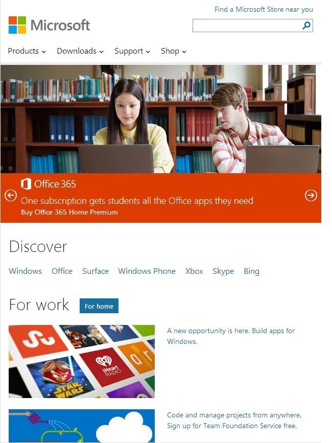 Microsoft Homepage RWD