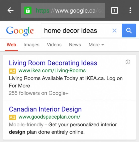 Screenshot of 'mobile-friendly' labels in paid search ads.