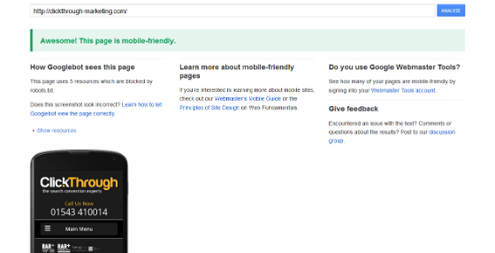 The Mobile Friendly Test tool, auditing ClickThrough's site.
