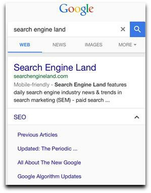 Mobile search links example