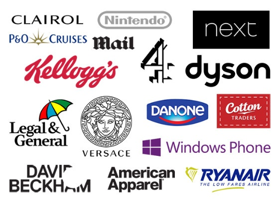 Logos of brands without mobile-friendly websites.