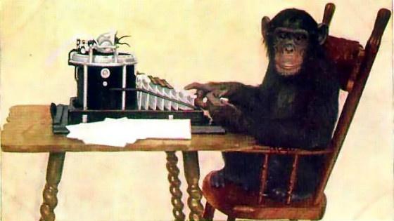 The infinite monkey theorem, illustrated.