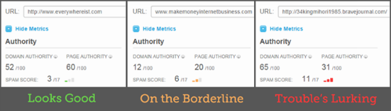 Three sites in the Open Site Explorer interface, each showing a different Spam Score.