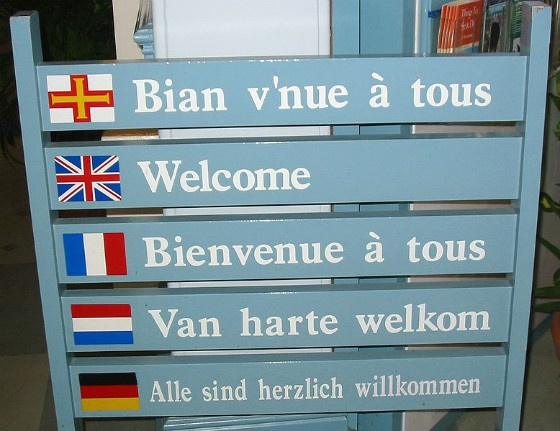 A sign displaying 'welcome' in several languages.