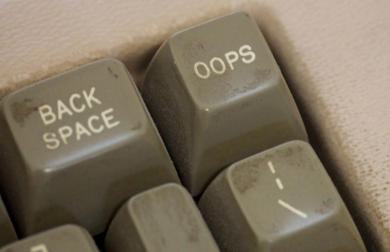 Keyboard with 'oops' key.