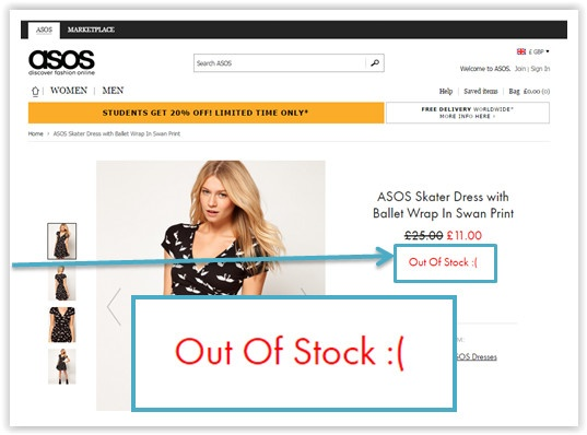 Out Of Stock notice