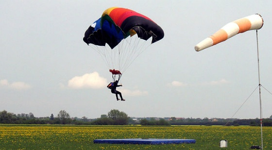 Parachute landing.