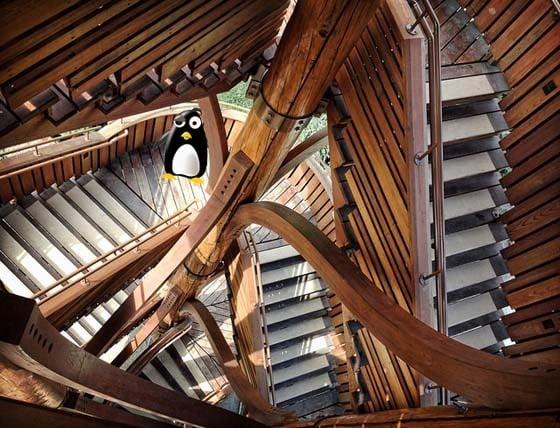 Penguin lost in an Escher dream.