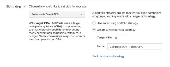 Portfolio bid strategies in AdWords