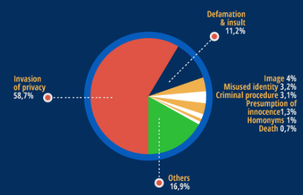Pie chart showing frequency of reasons behind RTBF requests.