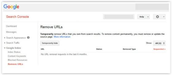 Remove URLs page