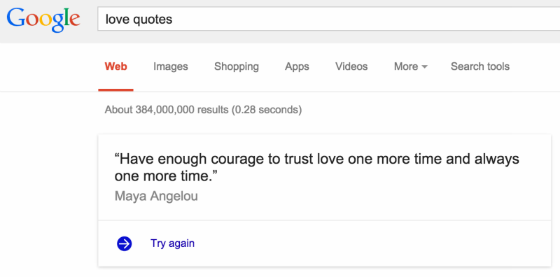 The Answers box (with link) that appears for the search query 'love quotes'.