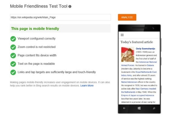 Bing mobile friendly tool