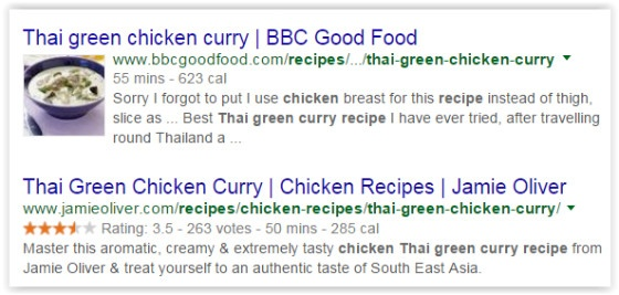 Recipe page SERP