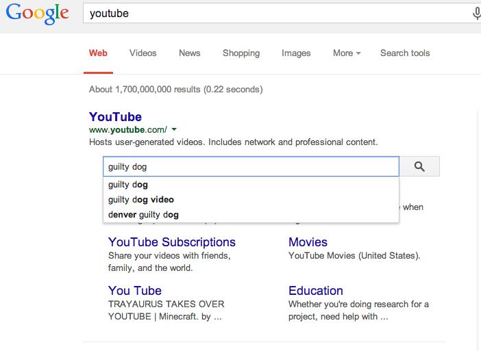 Sitelinks search example