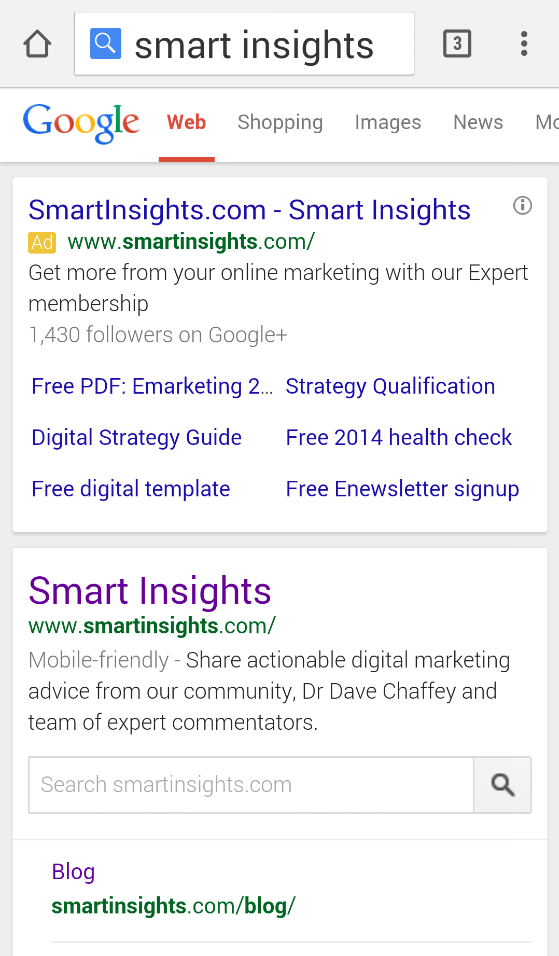 Example of 'mobile-friendly' message in mobile SERPs.