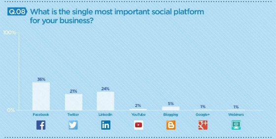Chart showing usage of different social media platforms in Ireland.