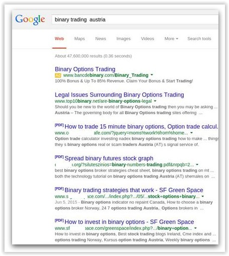 Google Search example showing PDFs