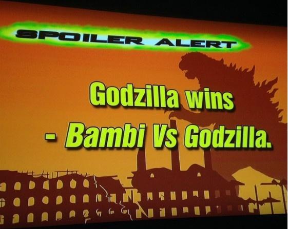 Spoiler Alert - Godzilla wins - Bambi Vs Godzilla