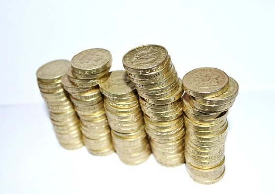Stacks of pound coins.