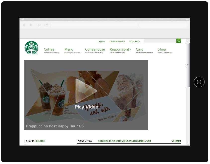 Starbucks Website iPad