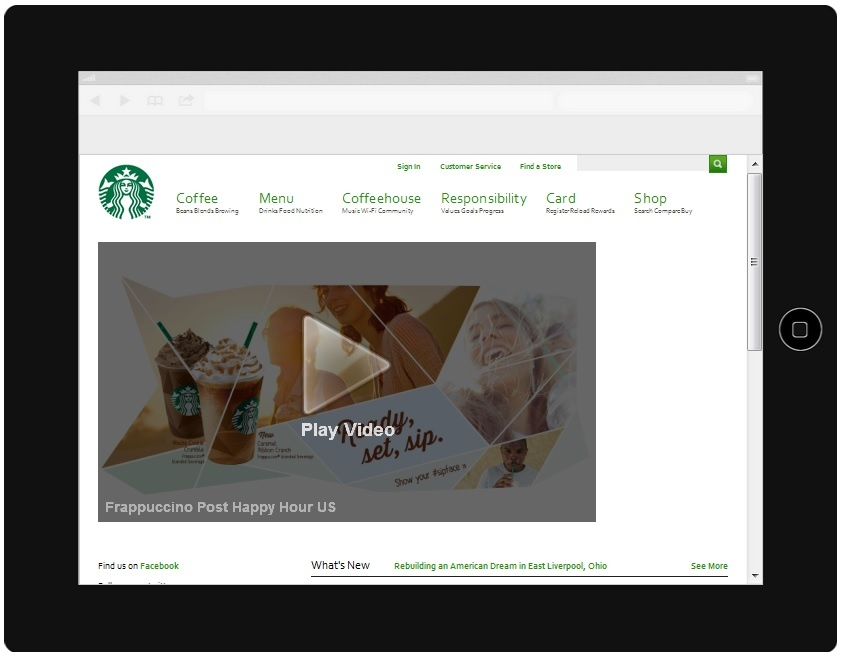 Starbucks Website iPad