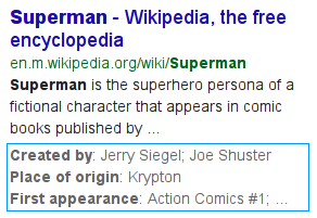 Structured snippet example for the search term 'superman'.