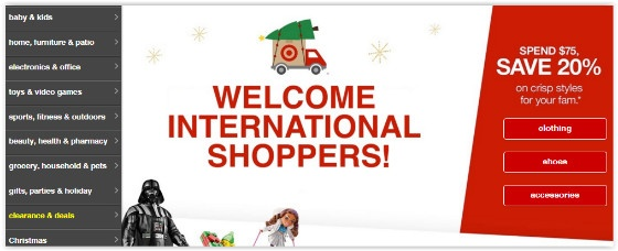 Target international website
