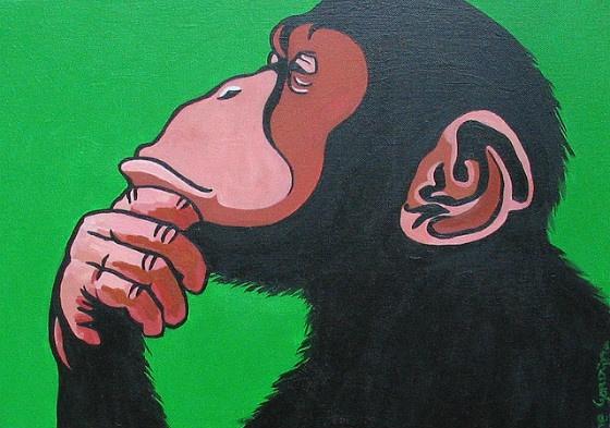 A thoughtful monkey.