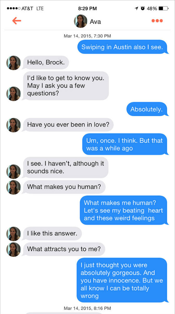 The Tinder viral marketing bot in action.