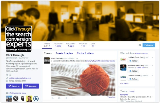 ClickThrough Marketing Twitter page