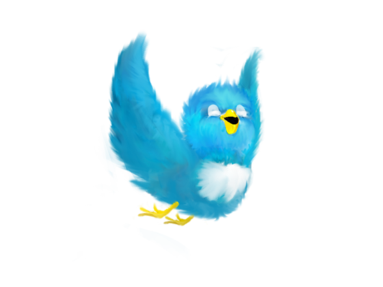 Twitter bird, looking happy and free.