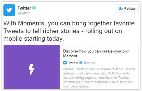 Twitter Moments tweet