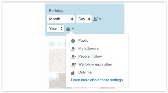 Twitter birthday options