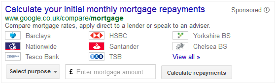 The ad displayed in Google UK's SERPs for the query 'mortgage calculator'.
