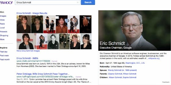 A Yahoo! Search for 'Erica Schmidt', showing incorrect Knowledge Graph results.