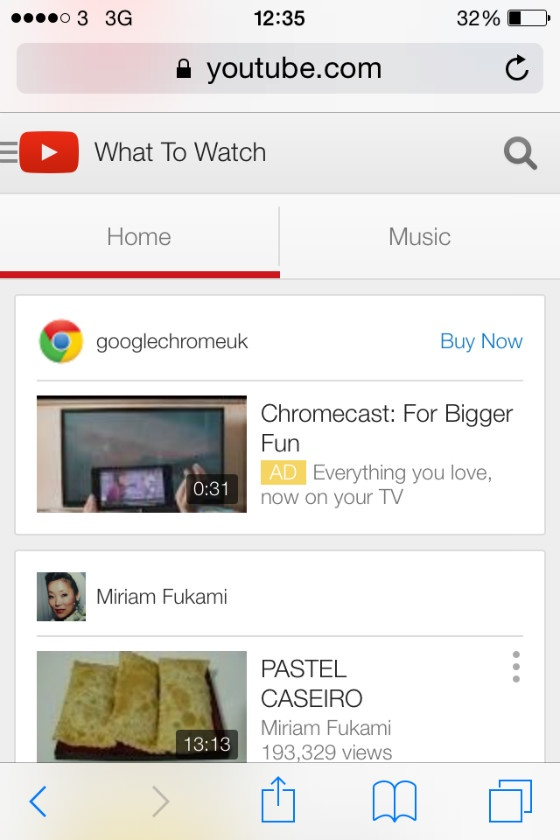 YouTube's dedicated mobile site.