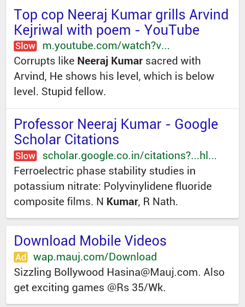 Google's 'Slow' site labels in mobile SERP.