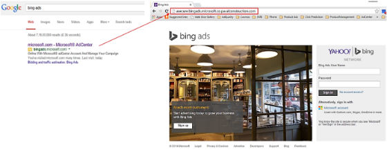Bing Ads phishing url