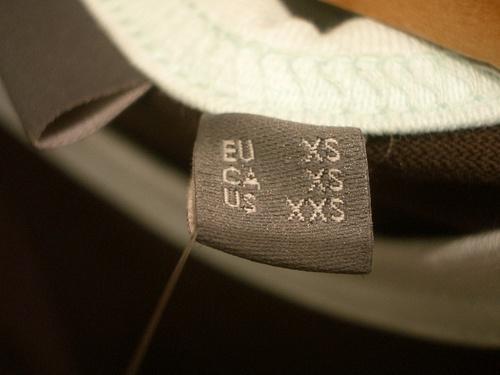 Extra-small clothing tag