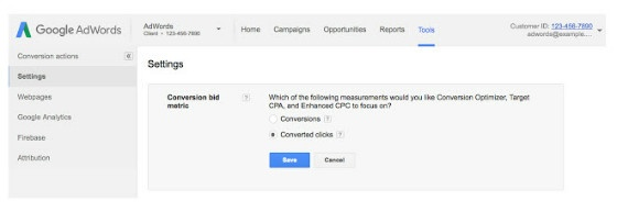 conversion clicks in AdWords