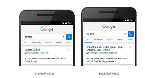 expanded text ad and standard ad comparison