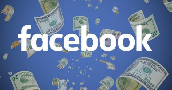 Facebook logo with money