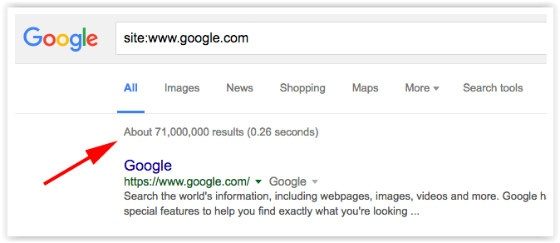 Google Search showing estimates bar
