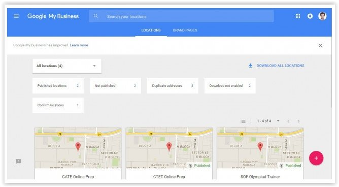 Google My Business navigation experience