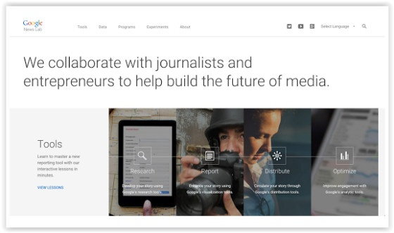 Google News Lab landing page